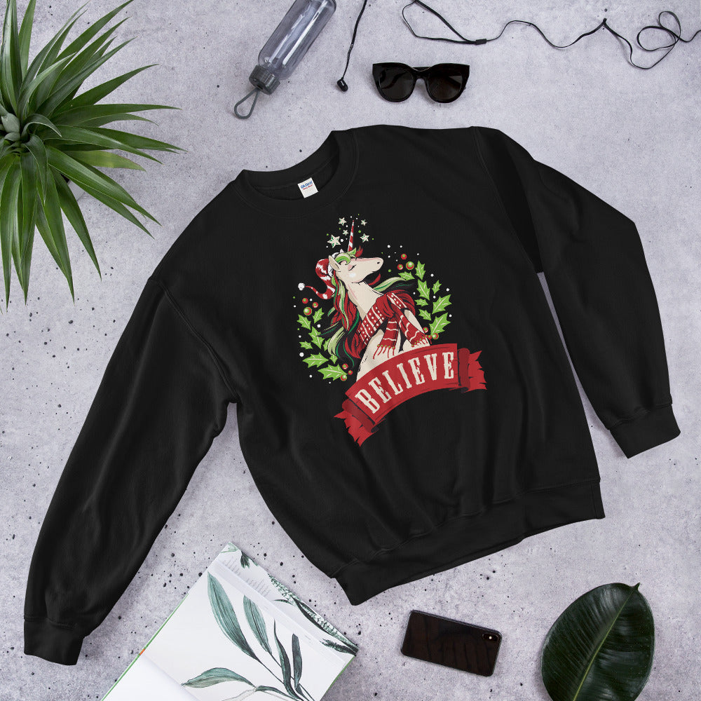 Christmas Unicorn Believe Crewneck Sweatshirt for Magical Ladies