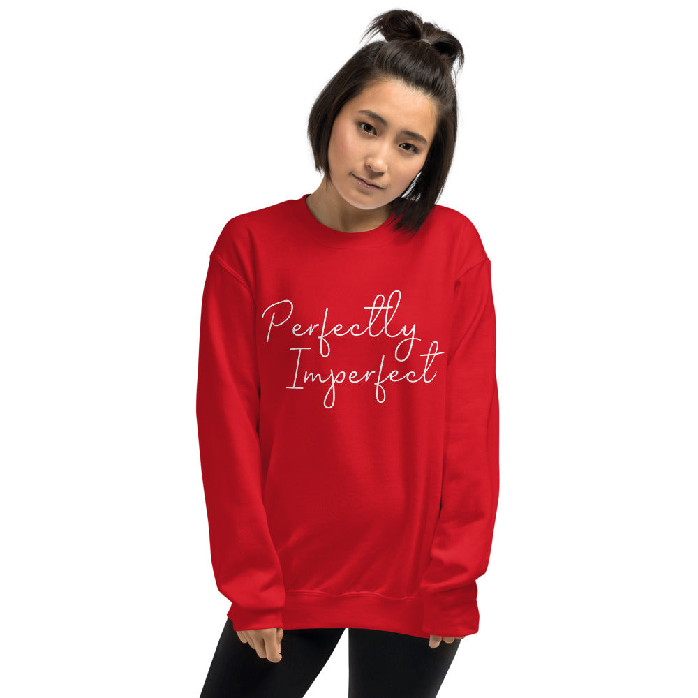 Red Perfectly Imperfect Pullover Crew Neck Sweatshirt for Women