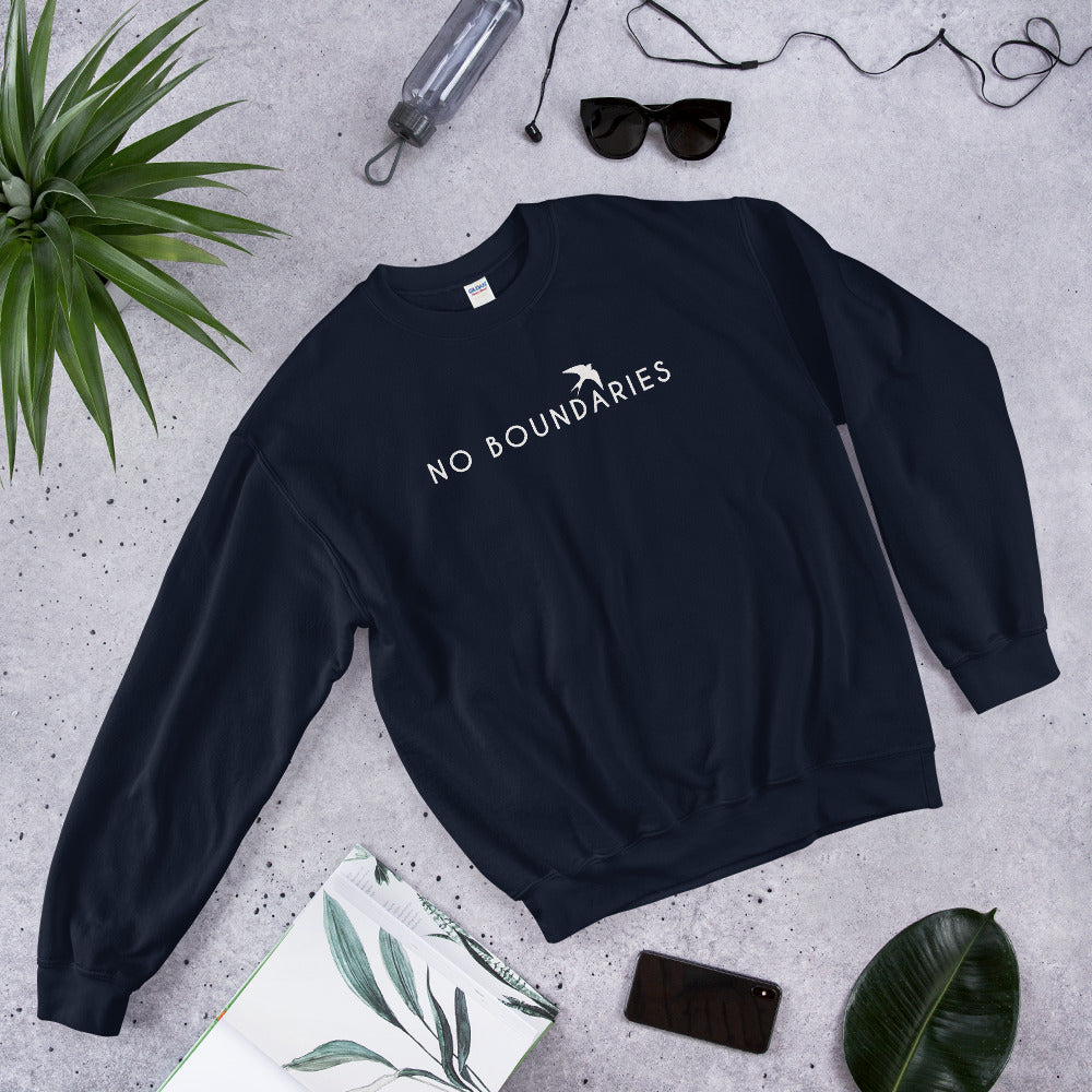 No Boundaries Sweatshirt | Navy Motivational Crew Neck Sweatshirt