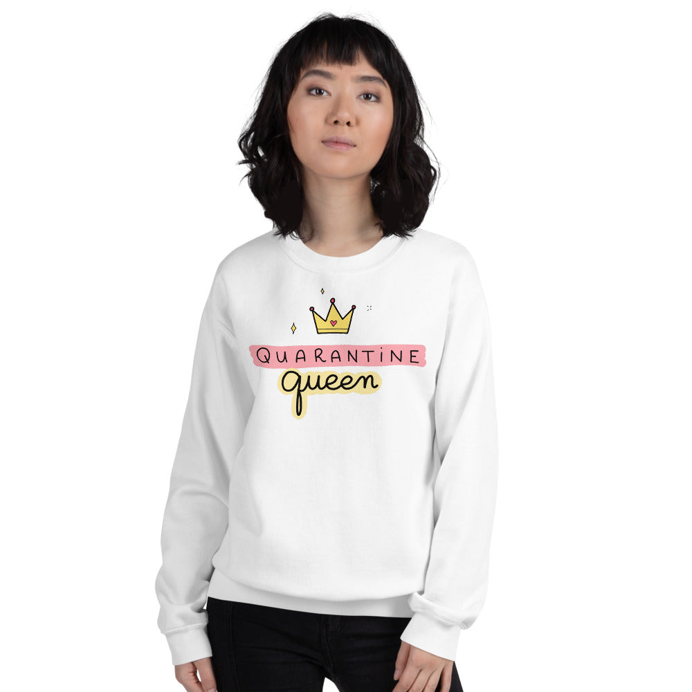 Quarantine Queen Sweatshirt | White Queen Sweatshirt for Women
