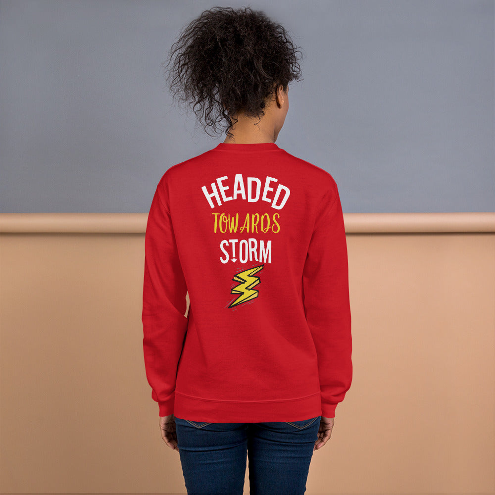 Headed Towards Storm Sweatshirt in Red for Women