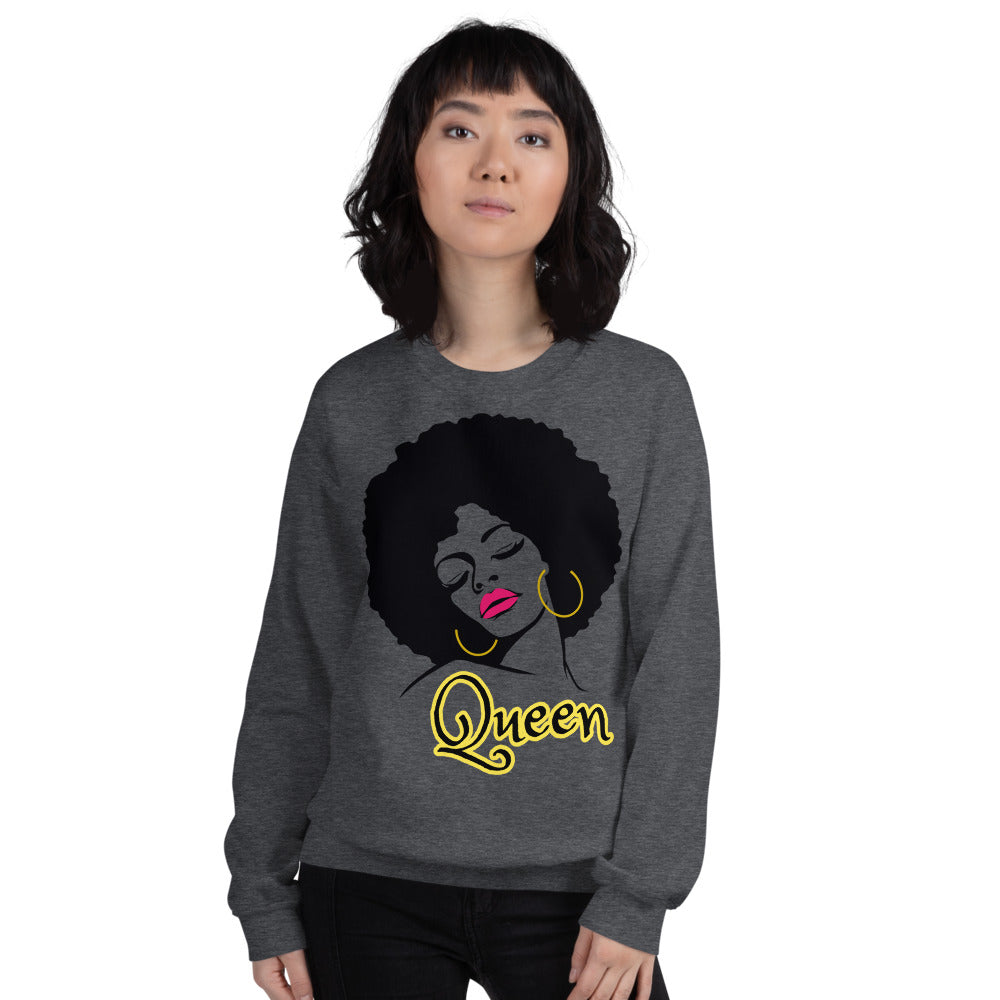 Queen Afro Girl Crewneck Sweatshirt for Women