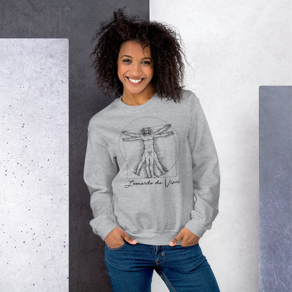 Grey Leonardo da Vinci Vitruvian Man Sweatshirt for Women