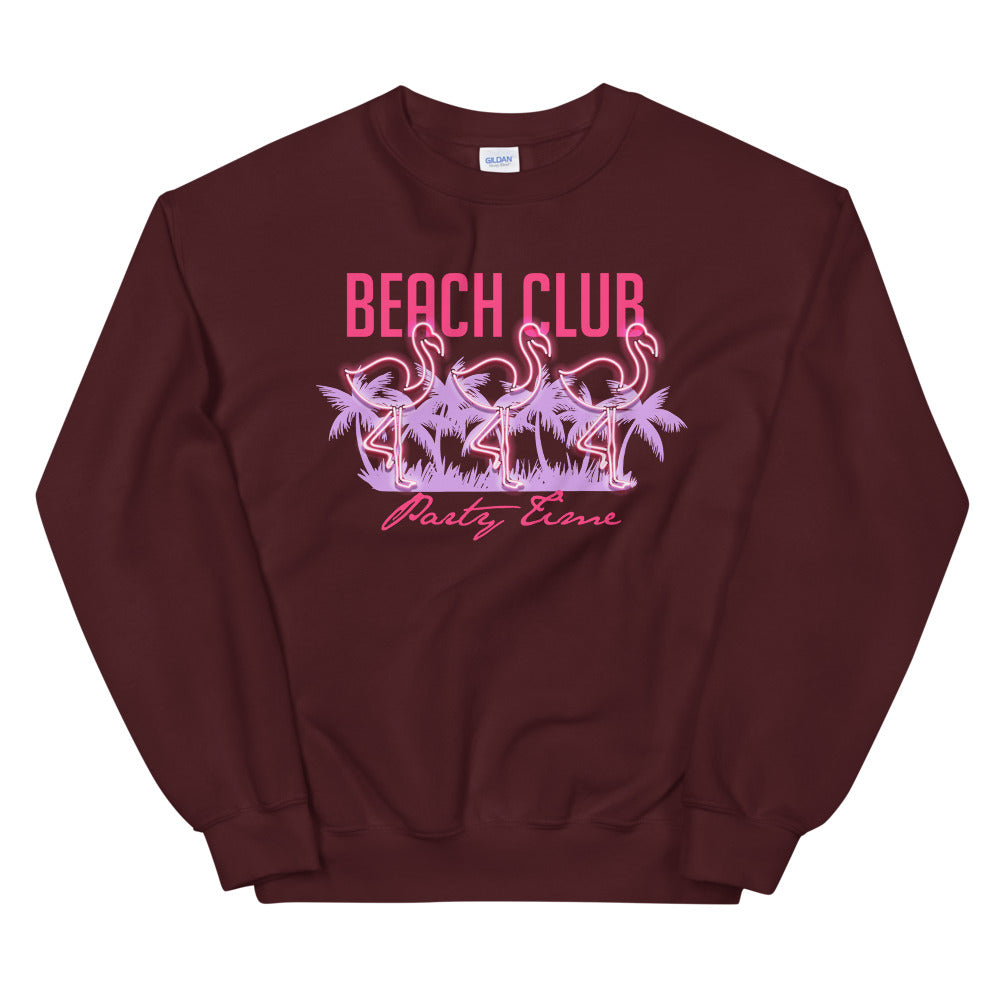 Beach Club Party Time Crewneck Sweatshirt for Women