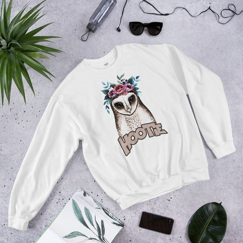 White Owl Hootie Pullover Crewneck Sweatshirt for Women