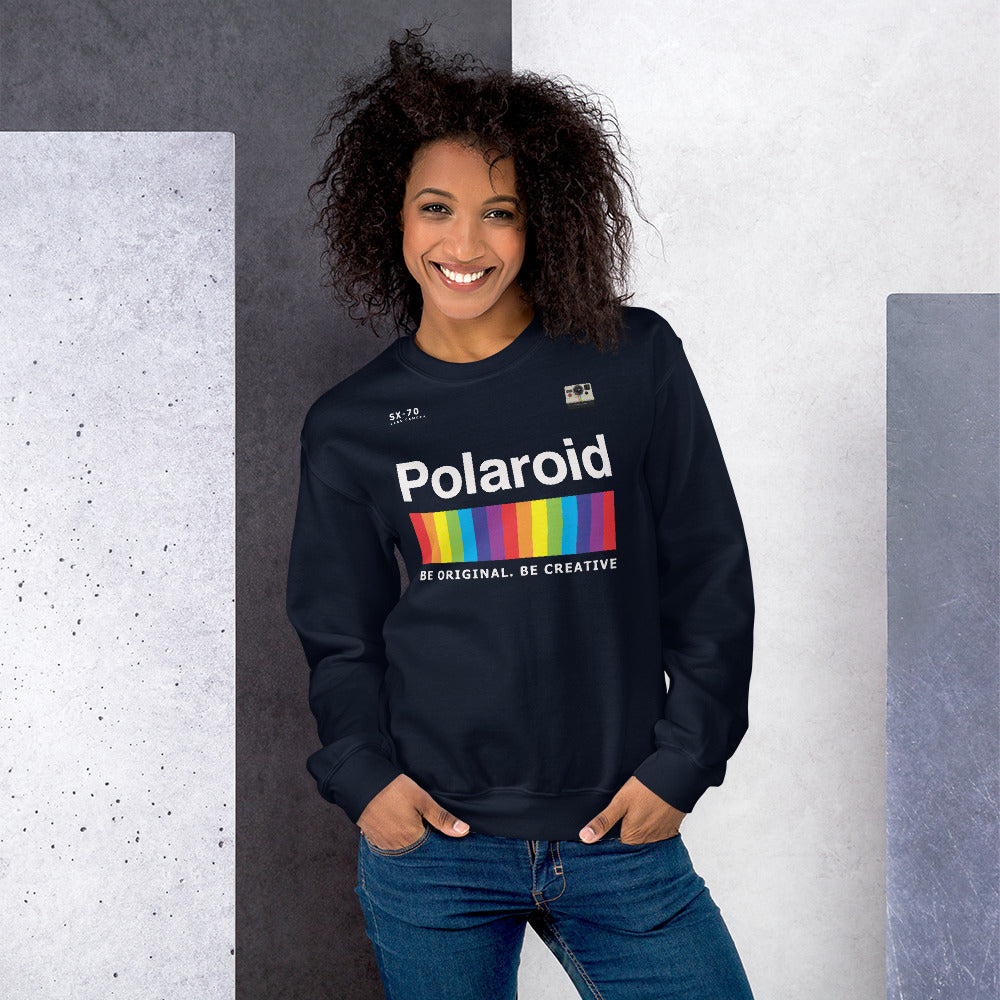 Polaroid Sweatshirt | Navy Crew Neck Rainbow Polaroid Logo Sweatshirt for Women