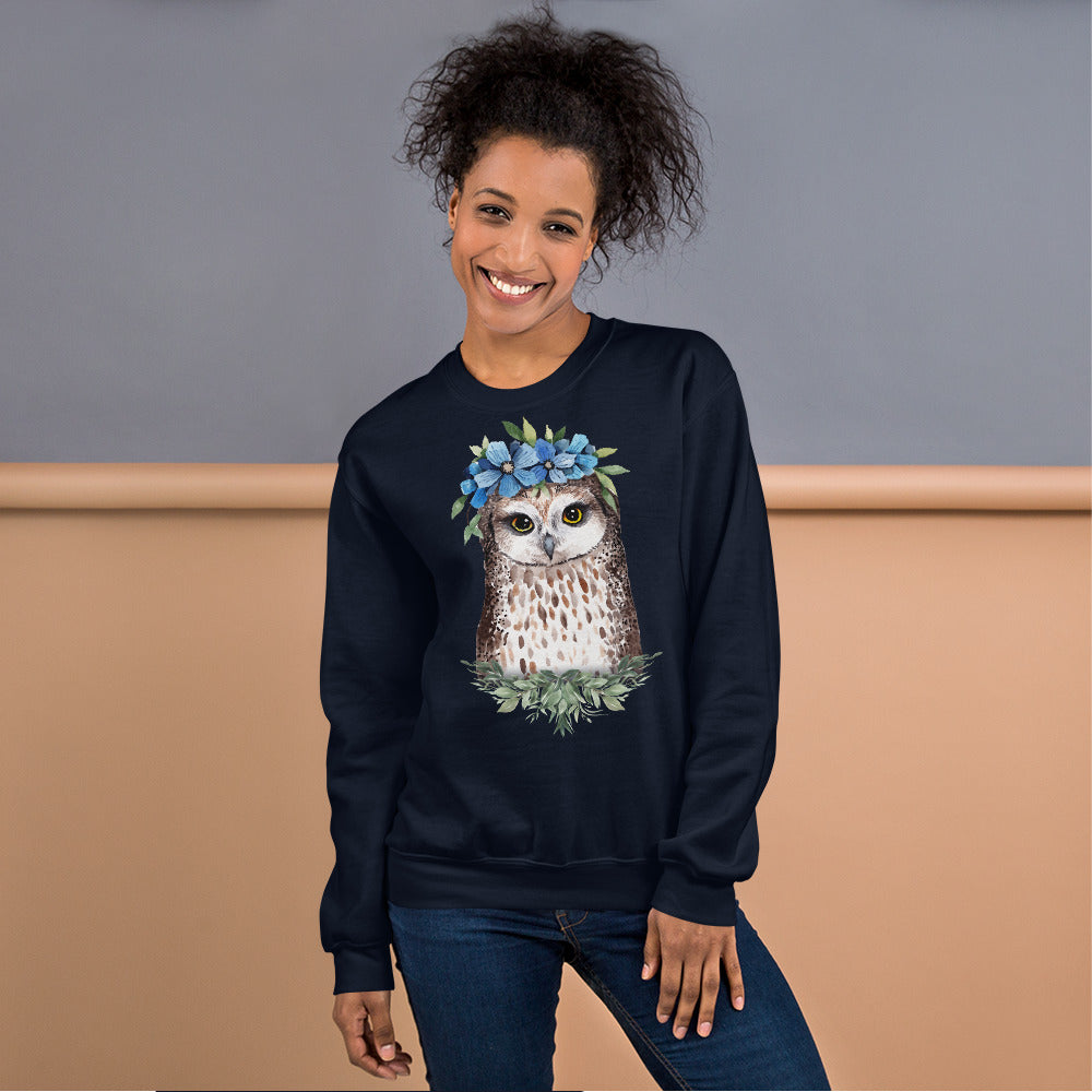 Owl Sweatshirt | Flower Crown Owl Sweatshirt for Women in Navy