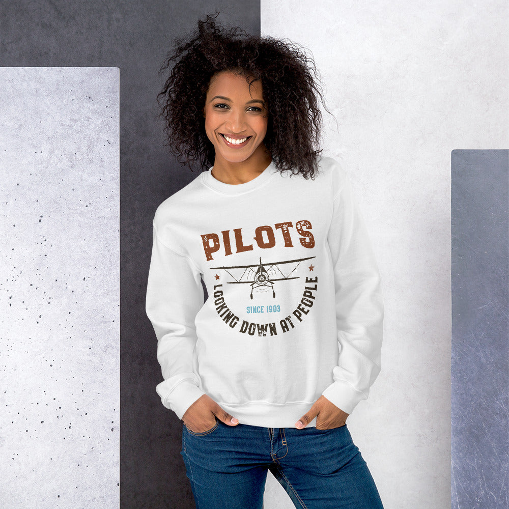 Pilots Looking Down At People Funny Vintage Crewneck Sweatshirt