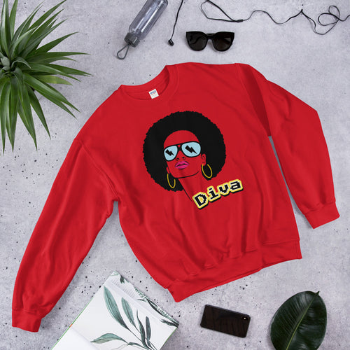 Diva Afro Girl Hip Hop Crewneck Sweatshirt for Women