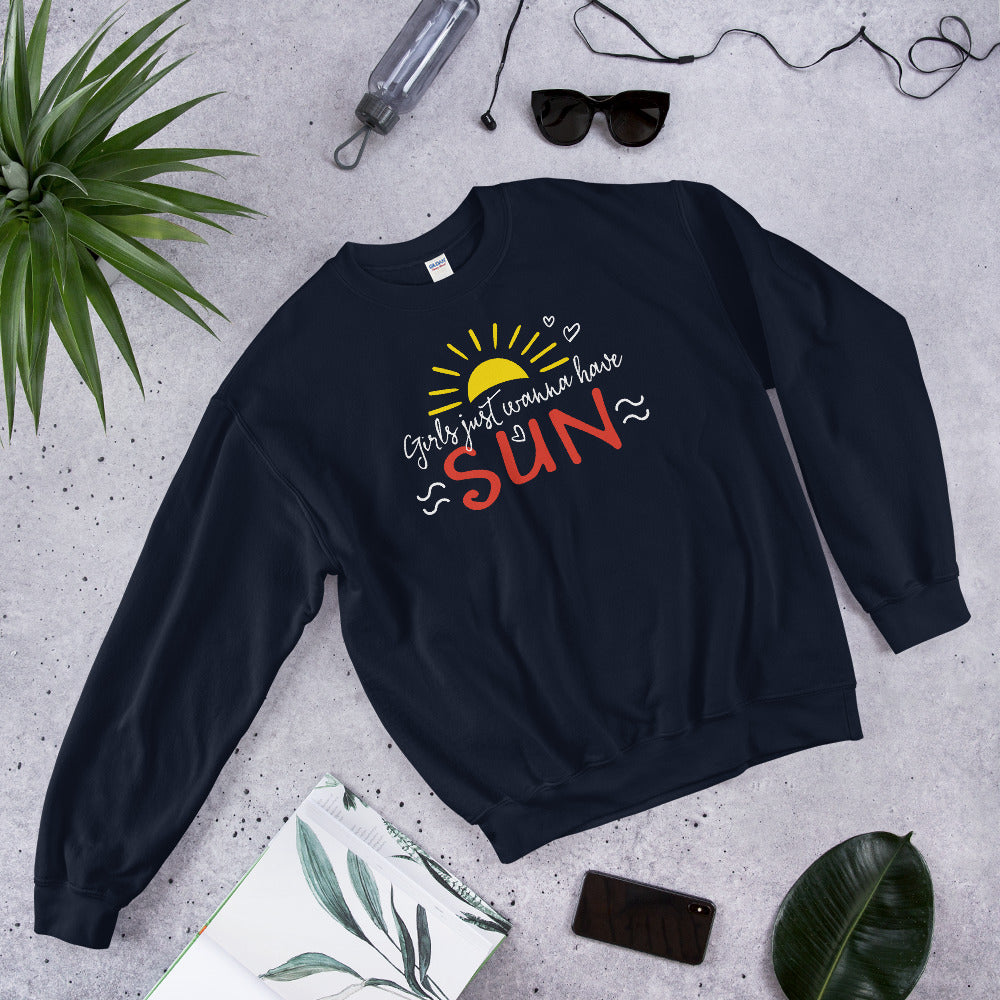 Girl Just Wanna Have Sun Sweatshirt for Women in Navy Color