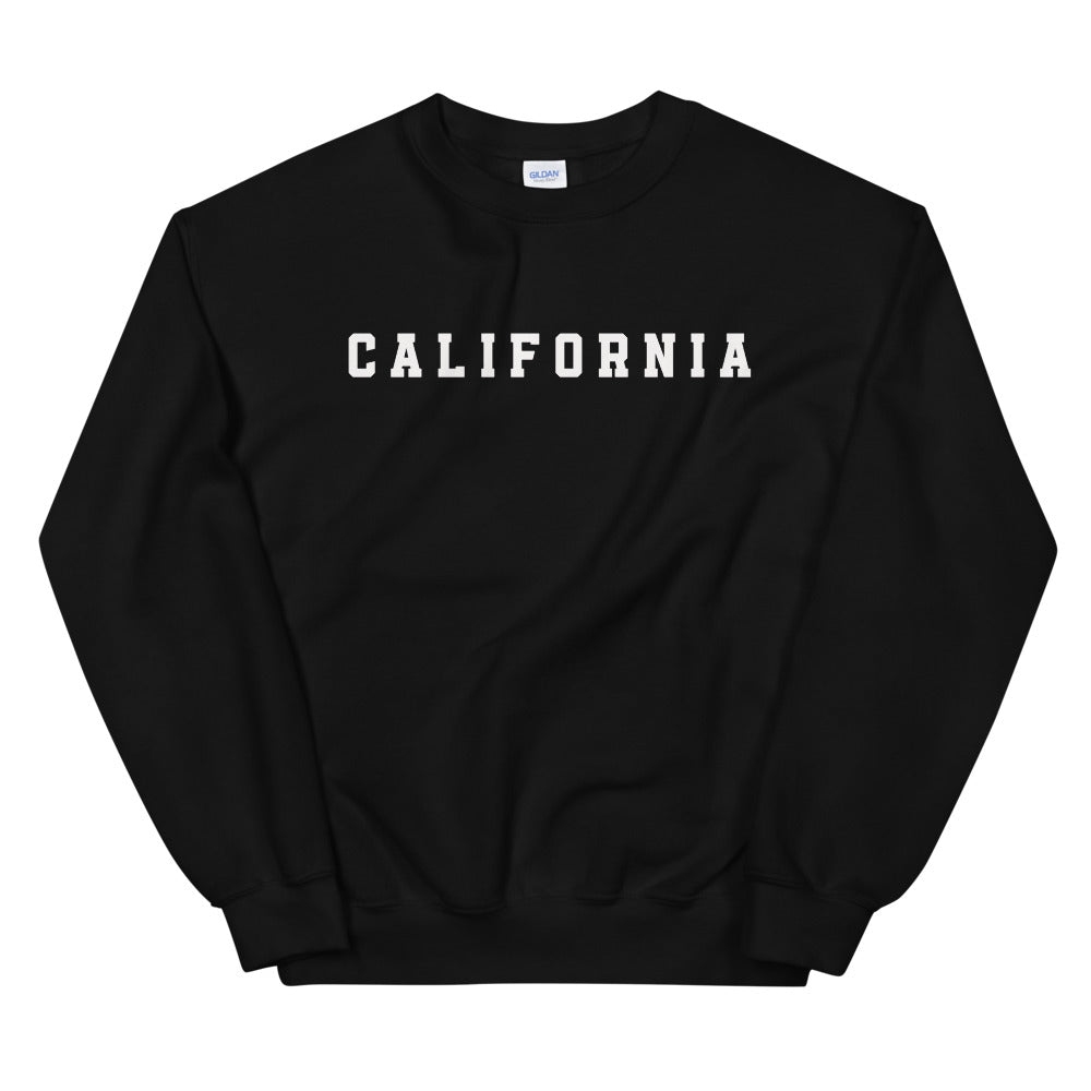California Sweatshirt | Black Crew Neck College Sweatshirt