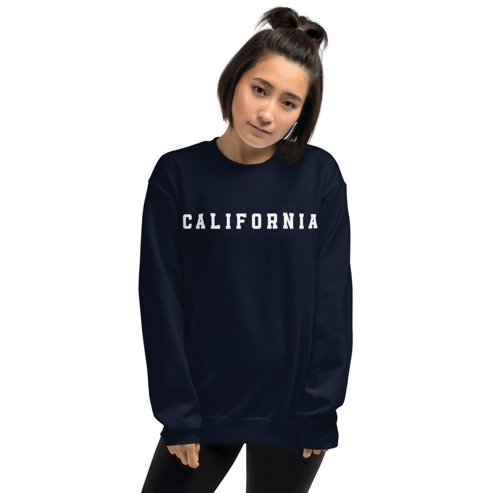 California Sweatshirt | Navy Crew Neck College Sweatshirt
