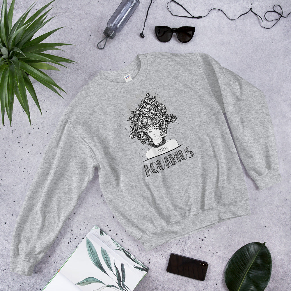 Aquarius Sweatshirt | Grey Crewneck Aquarius Zodiac Sweatshirt