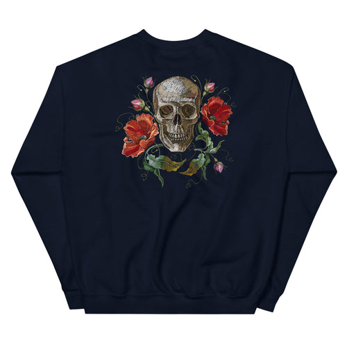 Rose Skull Sweatshirt | Navy Skull with Roses Sweatshirt for Women