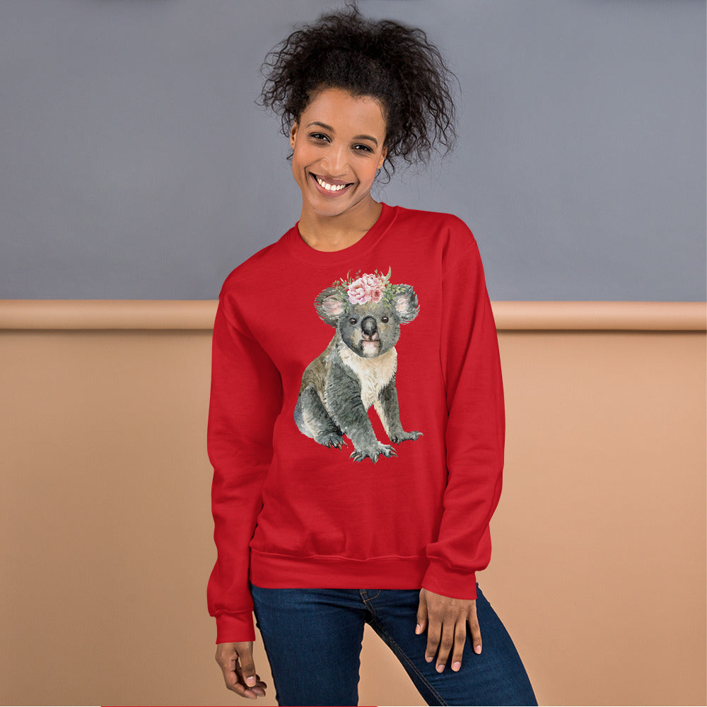 Cute Baby Koala Bear Sweatshirt in Red Color for Women