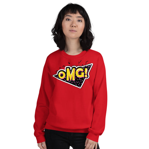 OMG Sweatshirt | Red Oh My God Slang Sweatshirt for Women