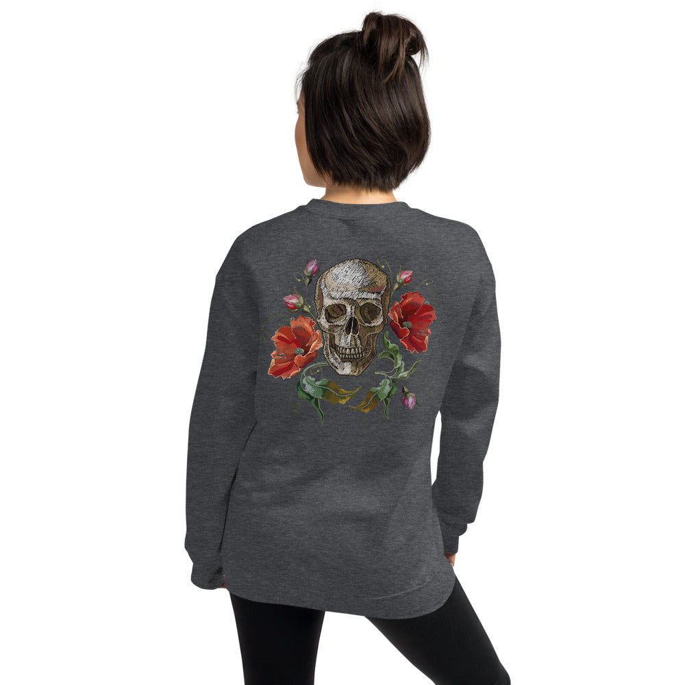 Rose Skull Sweatshirt | Dark Grey Skull with Roses Sweatshirt for Women