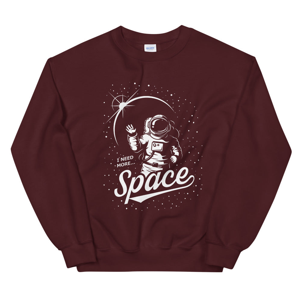 I need More Space Astronaut Art Crewneck Sweatshirt for Women