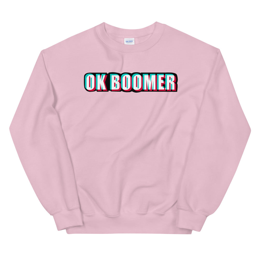 Pink Ok Boomer Pullover Crewneck Sweatshirt for Women