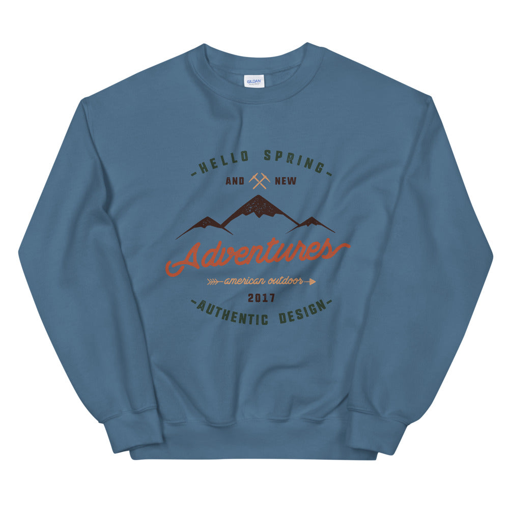 Hello Spring New Adventure Amrican Outdoor Crewneck Sweatshirt