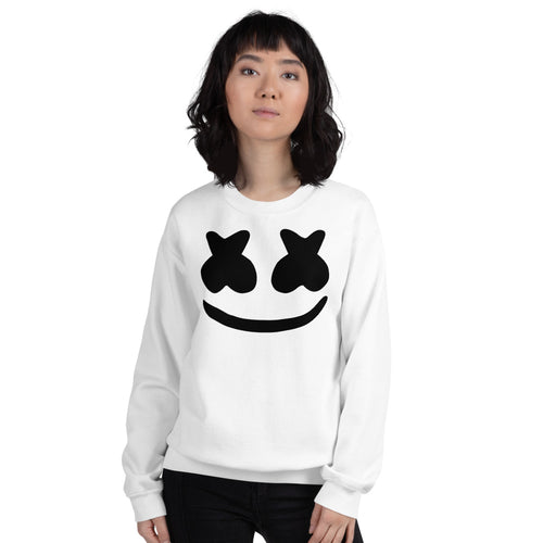 White DJ Marshmello Pullover Crewneck Sweatshirt for Women