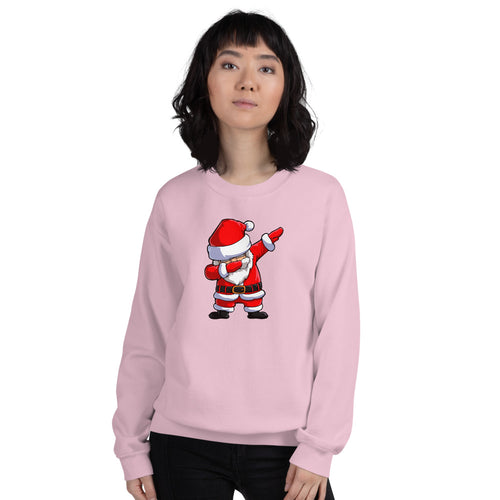 Pink Dab Santa Pullover Crewneck Sweatshirt for Women