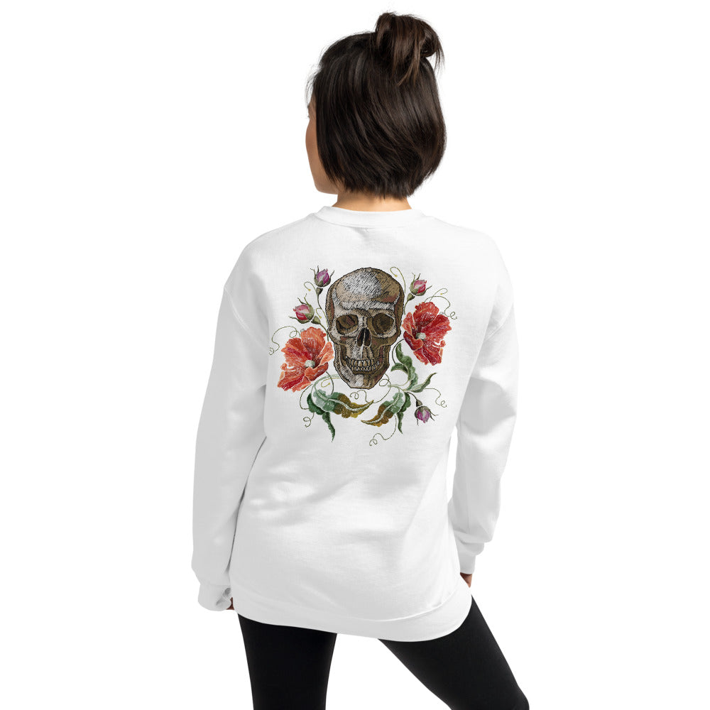 Rose Skull Sweatshirt | White Skull with Roses Sweatshirt for Women