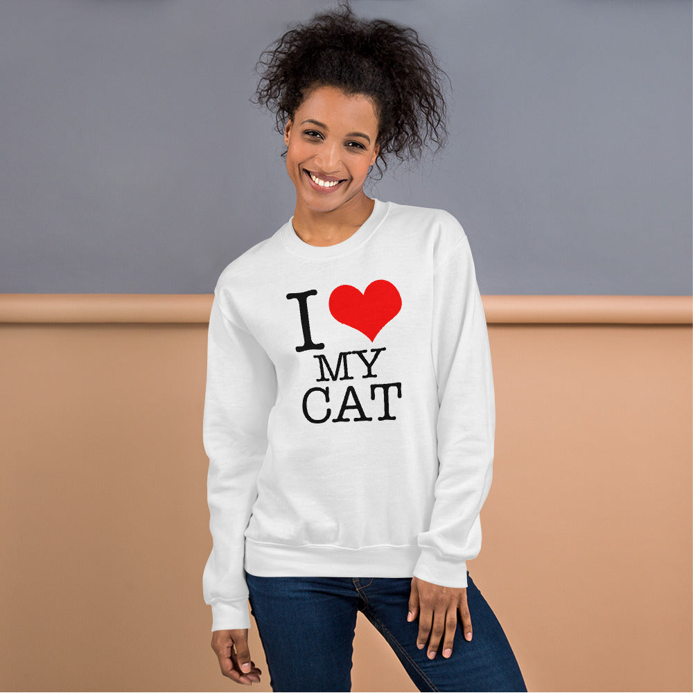 I Love My Cat Sweatshirt | White Pet Lover Sweatshirt for Women