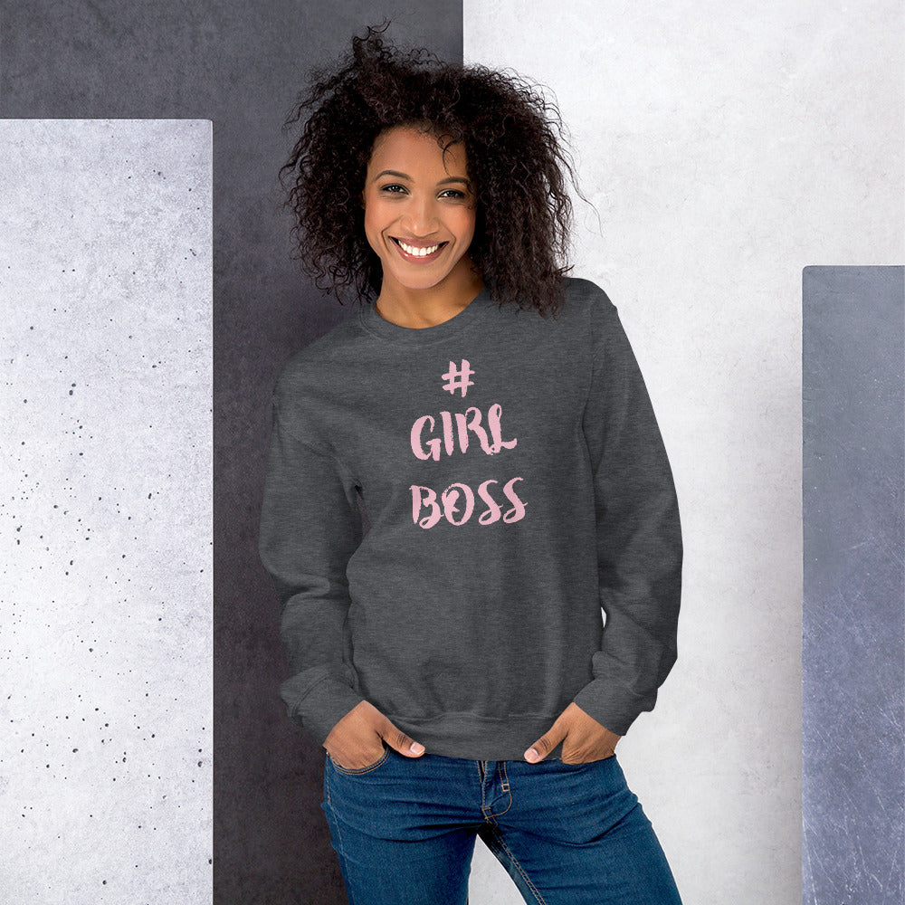 Girl Boss Hashtag Motivational Sweatshirt for Women