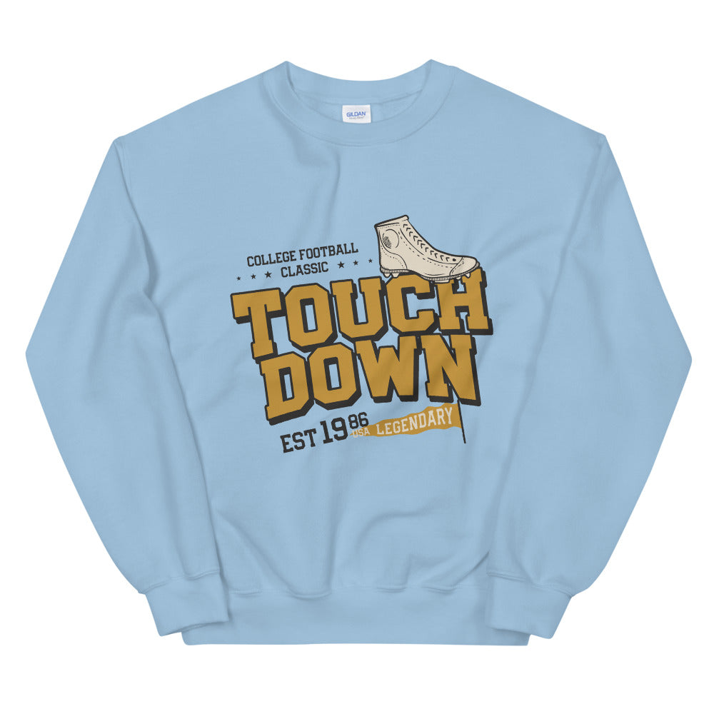 Vintage College Football Touch Down Crewneck Sweatshirt