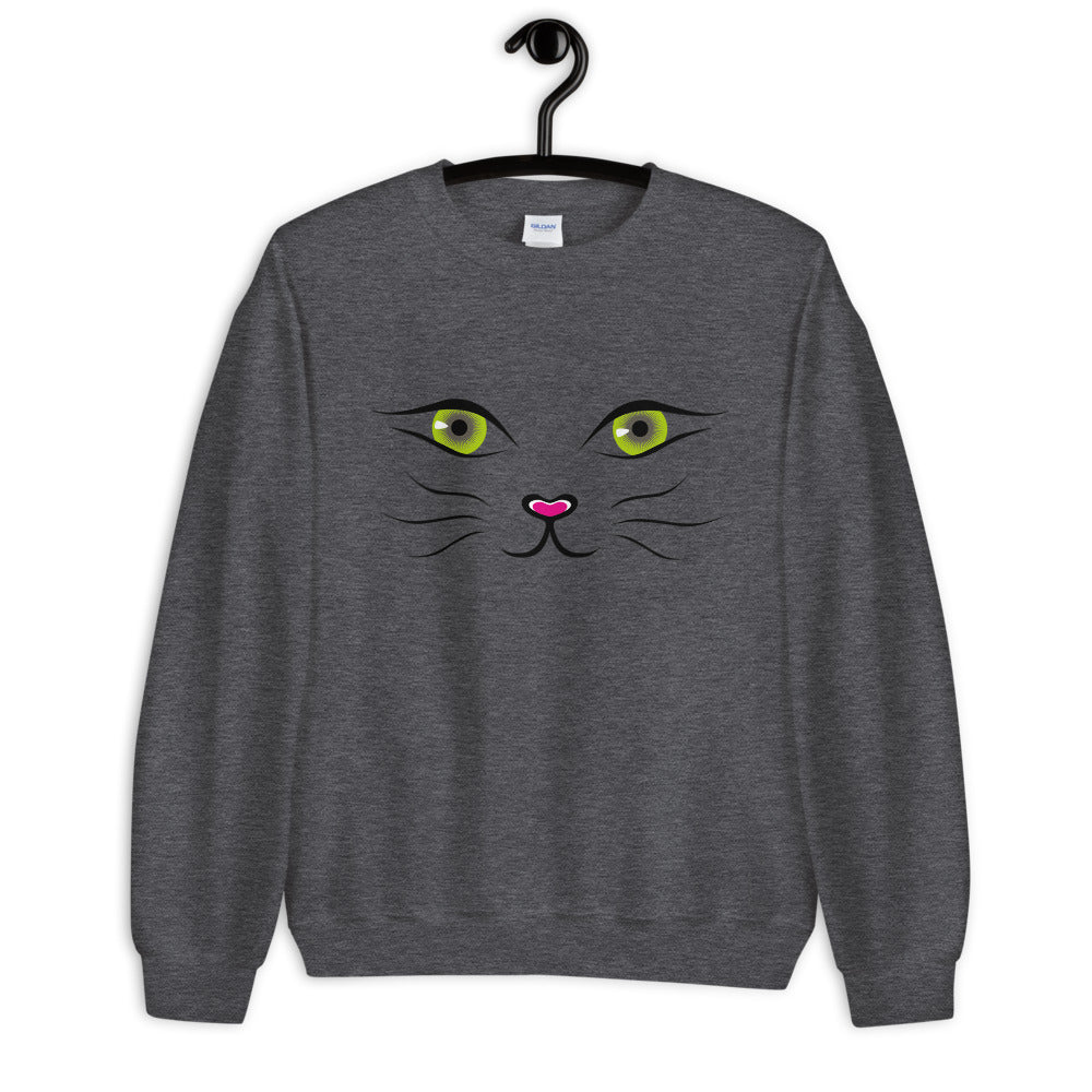 Cat Face Crewneck Sweatshirt for Women