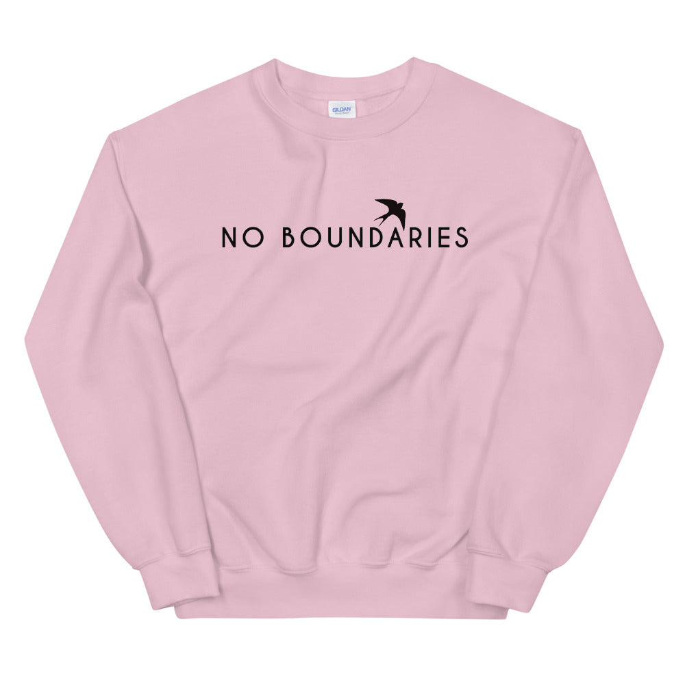 No Boundaries Sweatshirt | Pink Motivational Crew Neck Sweatshirt