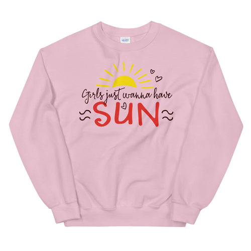 Girl Just Wanna Have Sun Sweatshirt for Women in Pink Color