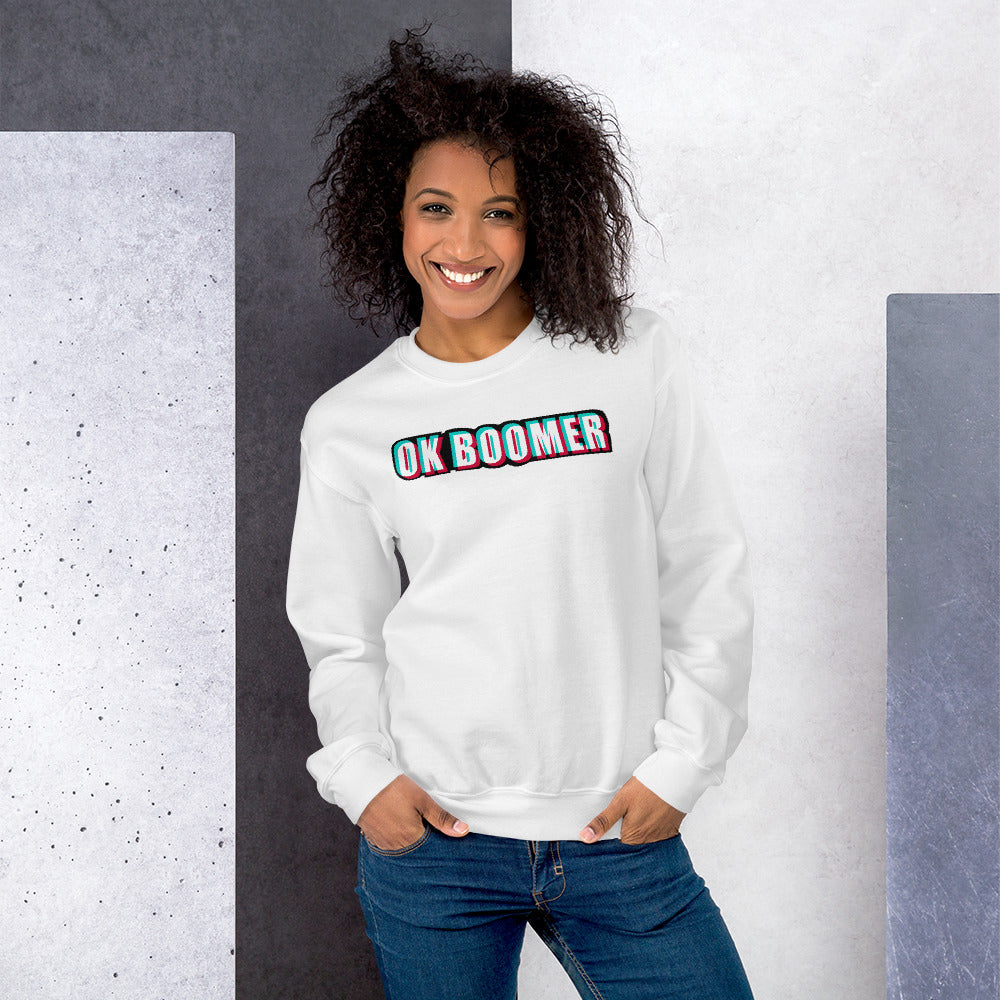 Ok Boomer Sweatshirt | White Ok Boomer Meme Sweatshirt for Women