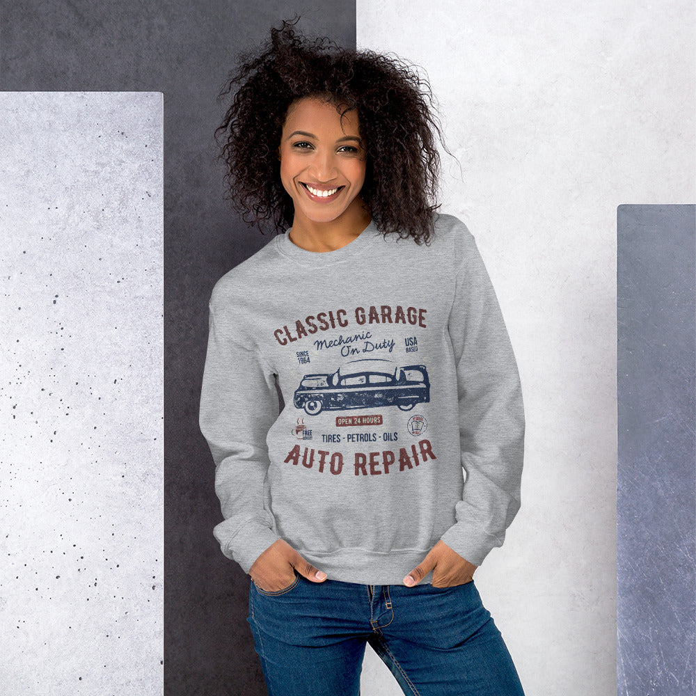 Vintage Classic Garage Mechanic on Duty Crewneck Sweatshirt