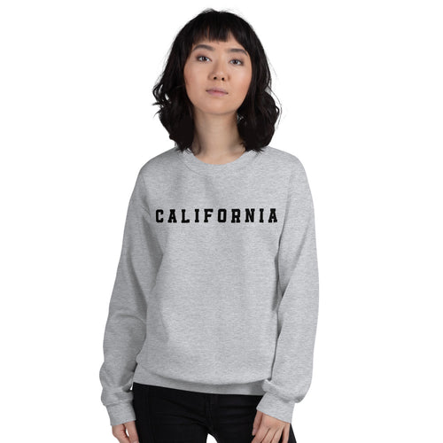 California Sweatshirt | Grey Crew Neck College Sweatshirt