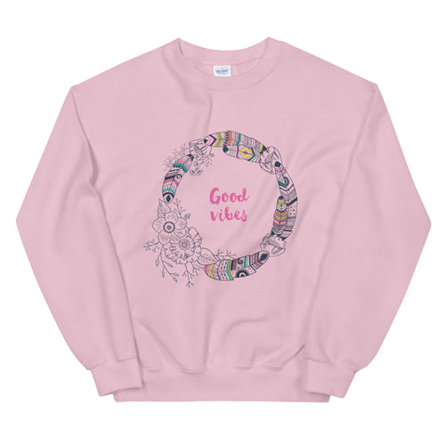 Good Vibes Sweatshirt | Pink Boho Vibes Sweatshirt for Women