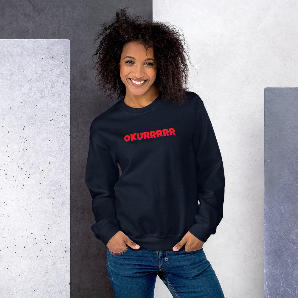 Okurrr Cardi B Meme Sweatshirt | Navy Okurrr Sweatshirt for Women