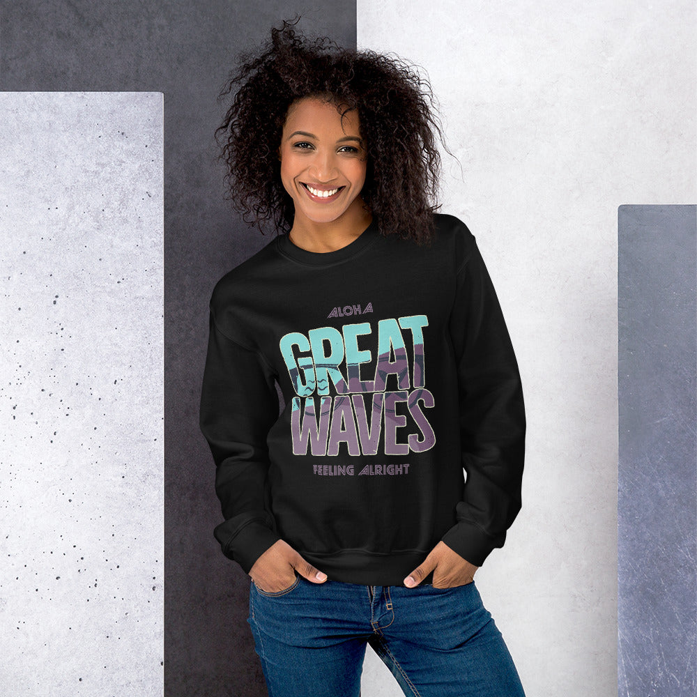 Aloha Great Waves Surfing Crewneck Sweatshirt for Women