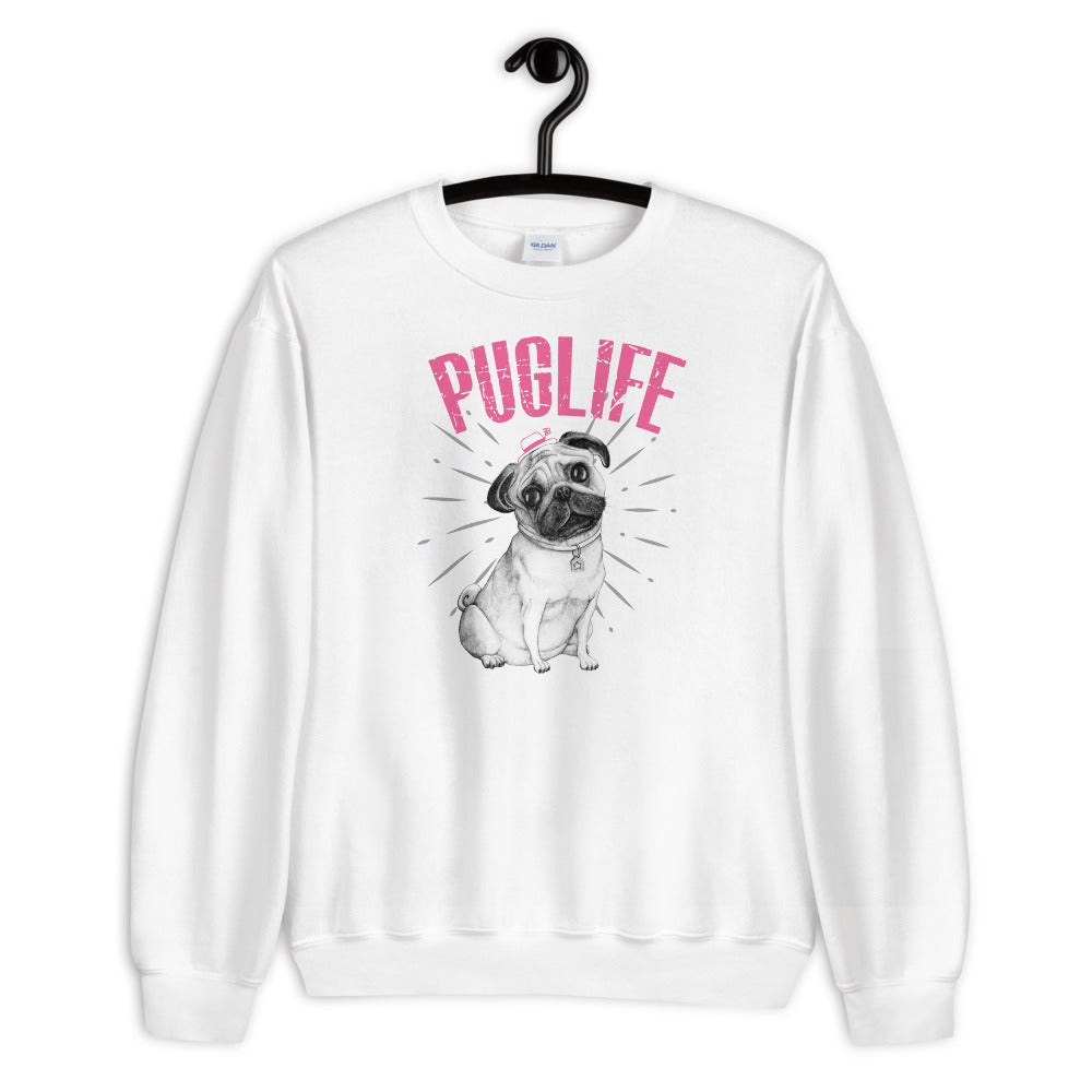 Pug Sweatshirt | White Pug Life Sweatshirt for Dog Lovers