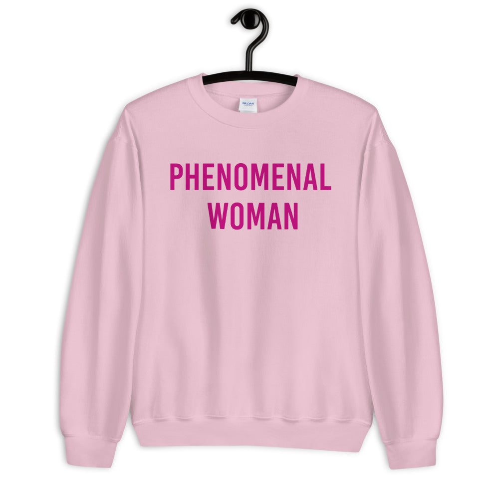 Pink Phenomenal Woman Pullover Crewneck Sweatshirt for Women