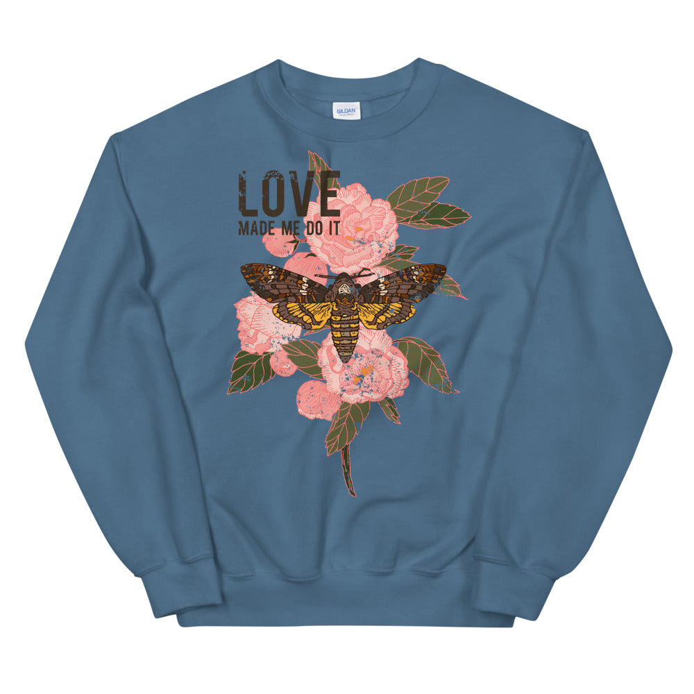 Love Made Me do It Butterfly Rose Crewneck Sweatshirt