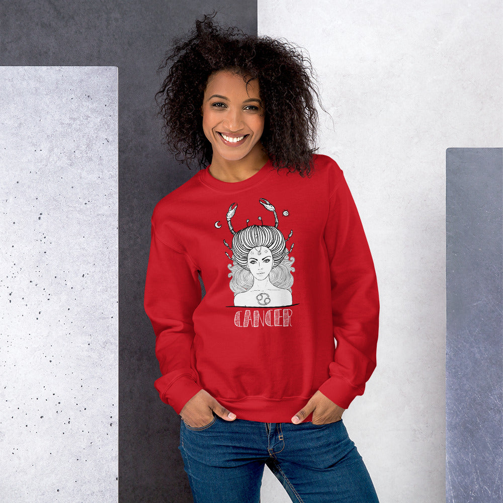 Cancer Sweatshirt | Red Crewneck Cancer Zodiac Sweatshirt