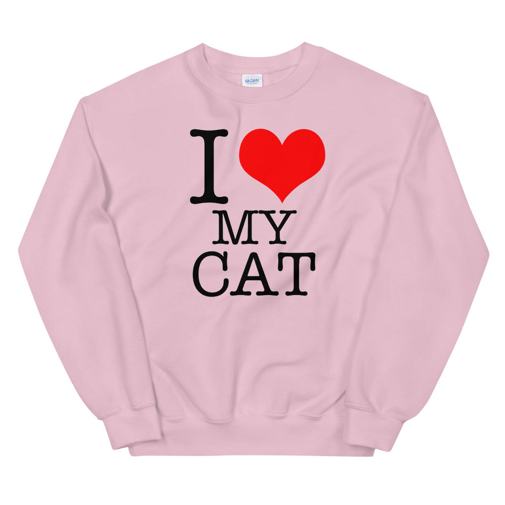 I Love My Cat Sweatshirt | Pink Pet Lover Sweatshirt for Women