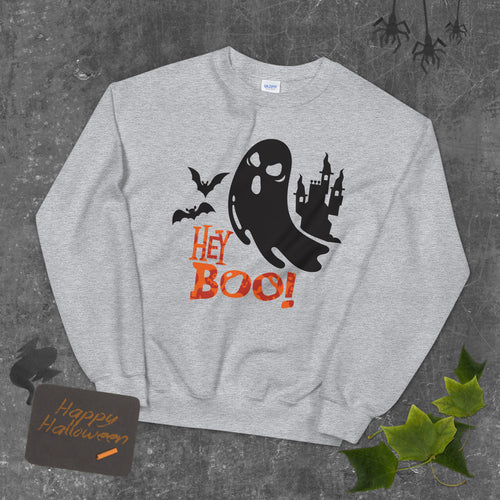 Hey Boo! Spooky Ghost Bats and Castle  Crewneck Sweatshirt