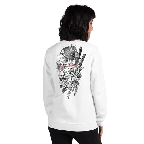 Japanese Woman Samurai Warrior Sweatshirt in White Color