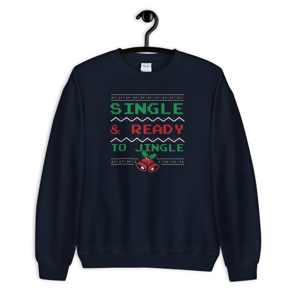 Single and Ready to Jingle Sweatshirt, Navy Funny Christmas Sweatshirt