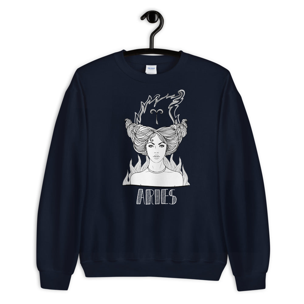 Aries Sweatshirt | Navy Crewneck Aries Zodiac Sweatshirt