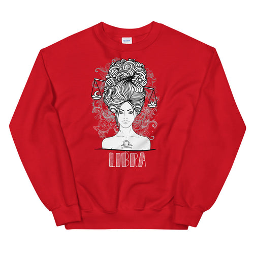 Red Libra Zodiac Pullover Crewneck Sweatshirt for Women