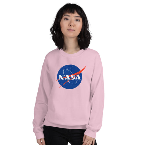 NASA Sweatshirt | Pink Crewneck Nasa Logo Sweatshirt for Women and Girls